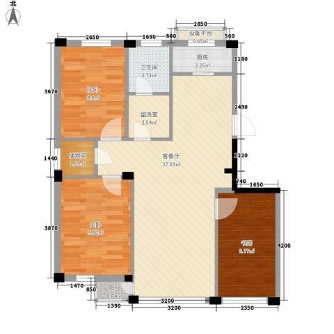 东翠鸣苑3室1厅1卫1厨90.00㎡户型图