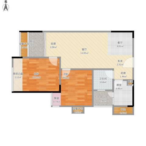 丹枫雅苑2室1厅1卫1厨75.00㎡户型图