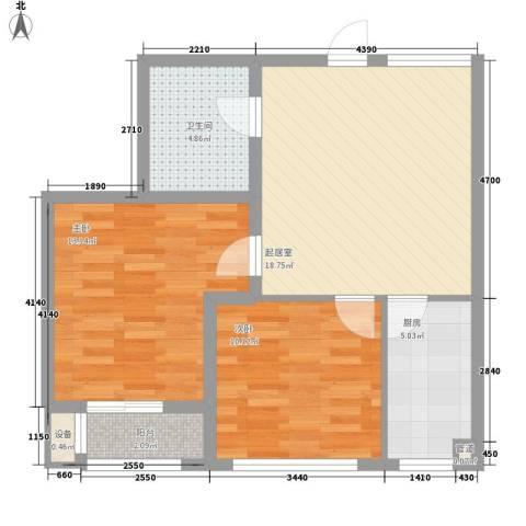 SR国际新城三期2室0厅1卫1厨78.00㎡户型图