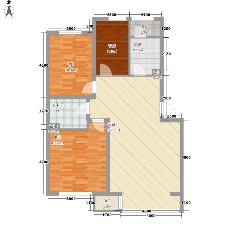 飞悦经典105.23㎡B1户型3室2厅1卫
