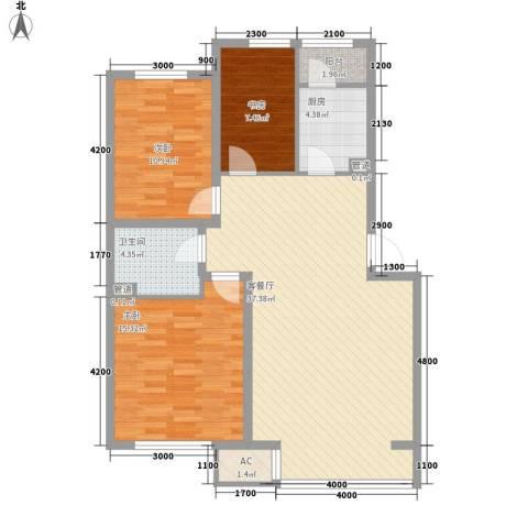 飞悦经典3室1厅1卫1厨105.00㎡户型图