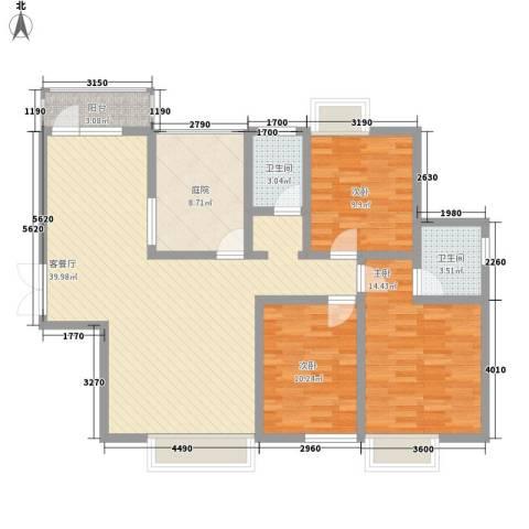 中糖大城小院3室1厅2卫0厨124.00㎡户型图