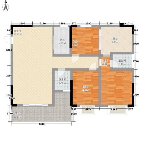 中糖大城小院3室1厅2卫1厨122.00㎡户型图