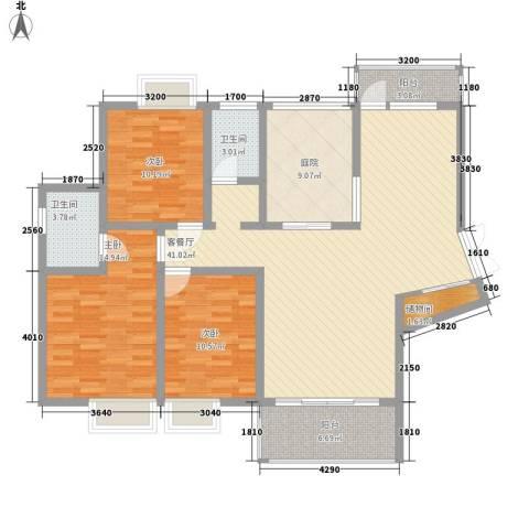中糖大城小院3室1厅2卫0厨128.00㎡户型图