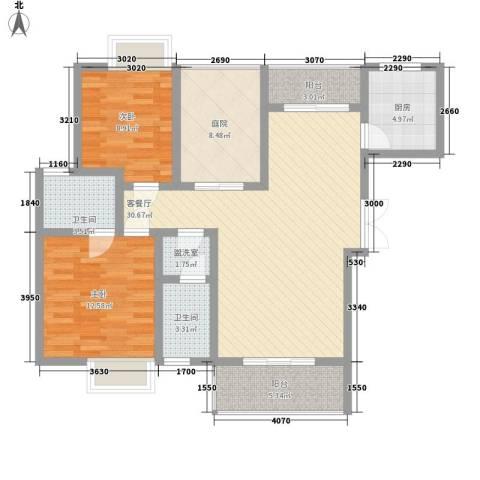 中糖大城小院2室1厅2卫1厨82.54㎡户型图