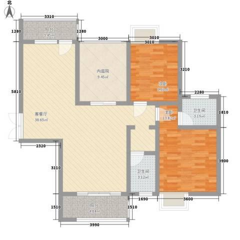 中糖大城小院2室1厅2卫0厨85.85㎡户型图
