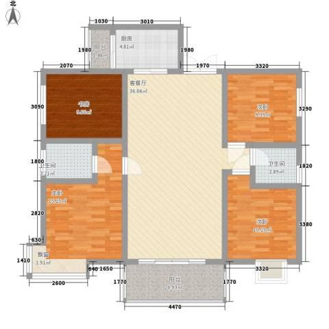 中糖大城小院4室1厅2卫1厨124.00㎡户型图