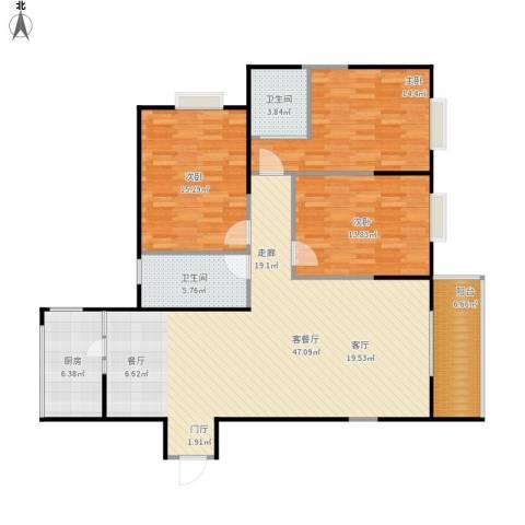 佳馨尊邸3室1厅2卫1厨151.00㎡户型图