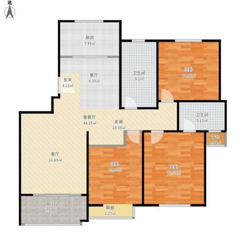 临港泥城苑3室1厅2卫1厨162.00㎡户型图