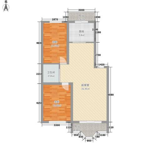 城建・鑫宇园2室0厅1卫1厨103.00㎡户型图