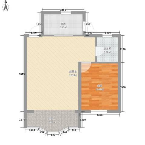 城建・鑫宇园1室0厅1卫1厨73.00㎡户型图