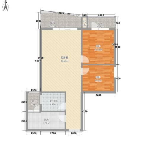 金阳乾图中心广场2室0厅1卫1厨116.00㎡户型图