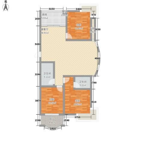 海德公园3室1厅2卫1厨111.81㎡户型图