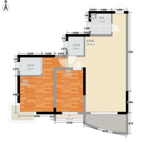 新芙蓉之都2室0厅2卫1厨76.75㎡户型图