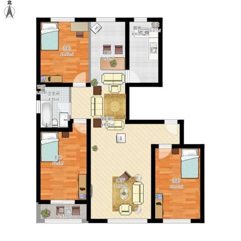 变电街外贸宿舍3室1厅1卫1厨128.00㎡户型图