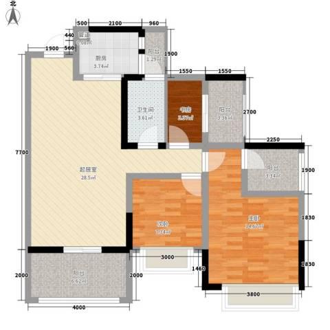 金马香颂居3室0厅1卫1厨102.00㎡户型图
