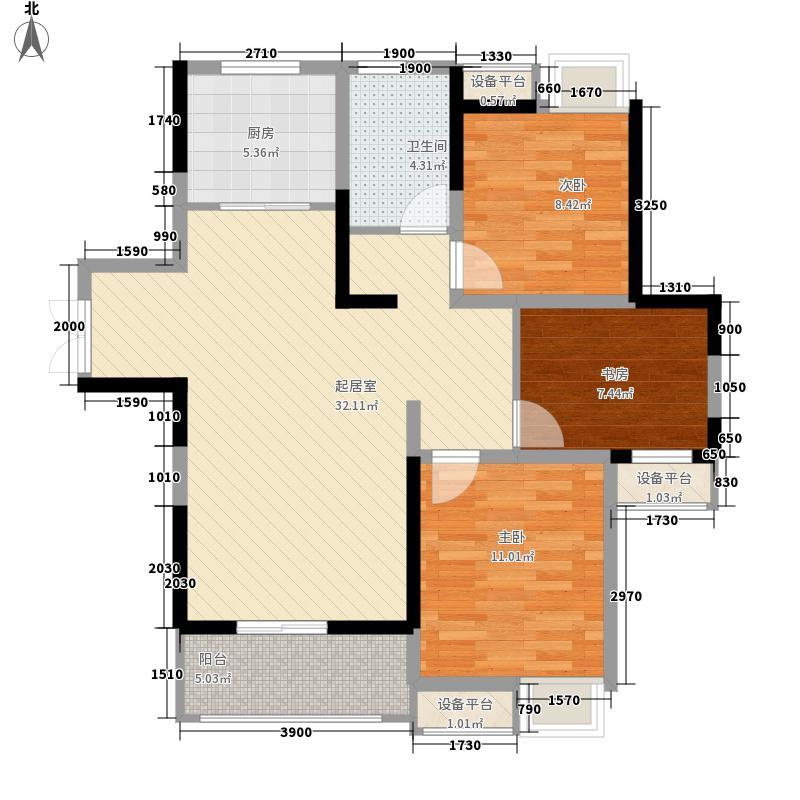 绿地臻城13.60㎡三区15#Q1户型3室1厅1卫1厨