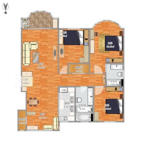 中祥哥德堡3室1厅2卫1厨184.00㎡户型图