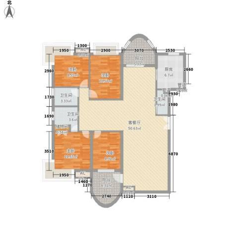 咸嘉新村嘉华苑4室1厅3卫1厨166.00㎡户型图