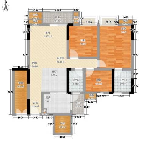 勒水名筑3室0厅2卫1厨113.00㎡户型图