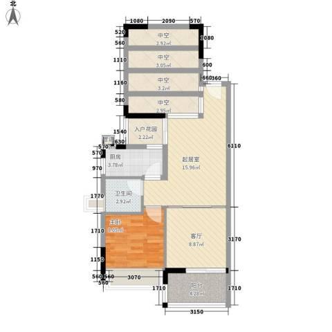 尚书苑1室1厅1卫1厨58.32㎡户型图