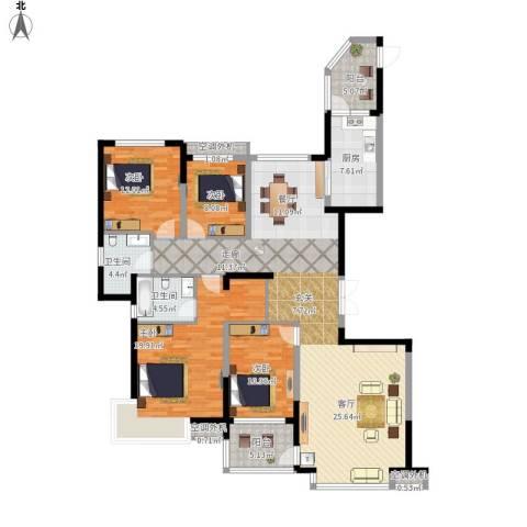 鹰潭恒大绿洲4室1厅2卫1厨193.00㎡户型图