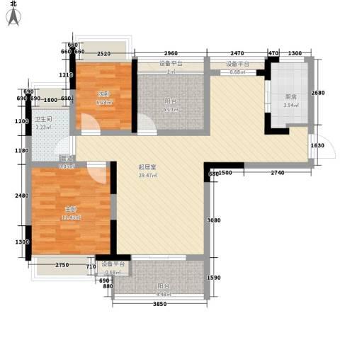 招商小石城别墅2室0厅1卫1厨100.00㎡户型图