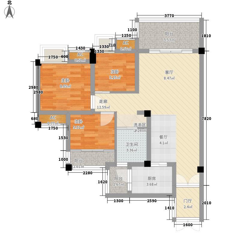 新界六期花墅居六期1、3号楼标准层C1户型3室2厅1卫1厨