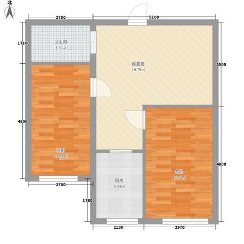 亿隆富贵名苑2室0厅1卫1厨59.94㎡户型图