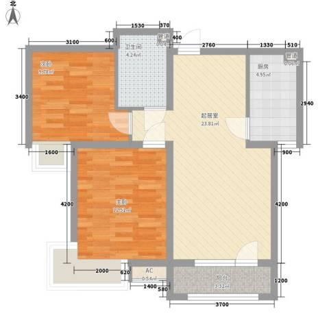 开运大厦2室0厅1卫1厨86.00㎡户型图