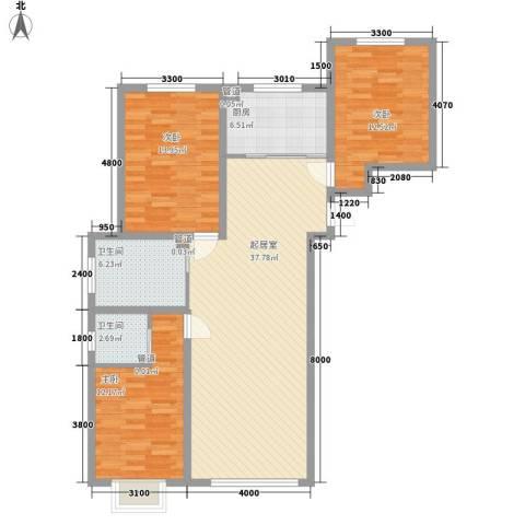 世纪兴嘉园3室0厅2卫1厨130.00㎡户型图
