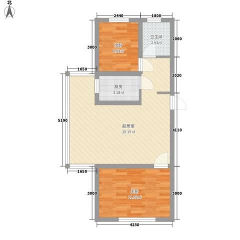 枫桦美地2室0厅1卫1厨70.00㎡户型图