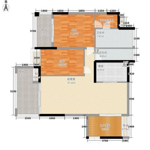 椰海福湾2室0厅2卫1厨123.00㎡户型图