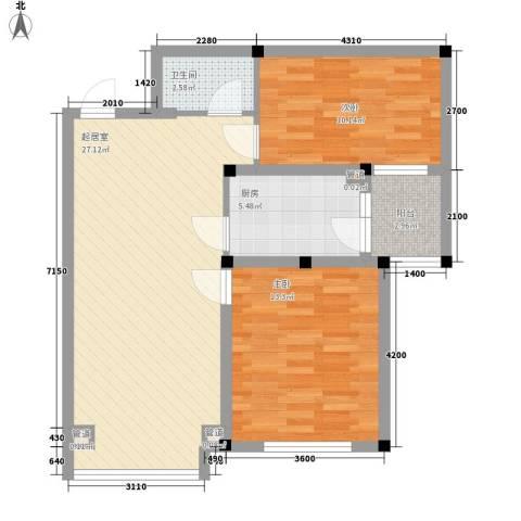 沈铁雪松新城2室0厅1卫1厨88.00㎡户型图