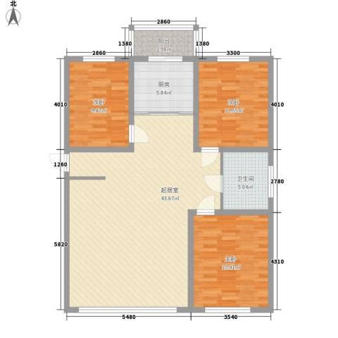 枫桦美地3室0厅1卫1厨130.00㎡户型图