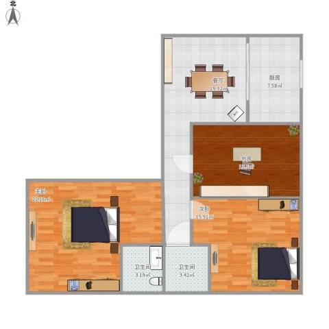 书香苑小区3室1厅2卫1厨112.00㎡户型图