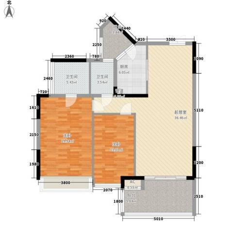 椰海福湾2室0厅2卫1厨113.00㎡户型图