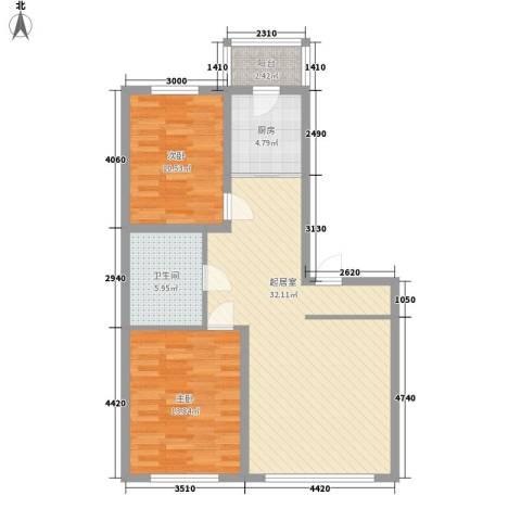 枫桦美地2室0厅1卫1厨98.00㎡户型图