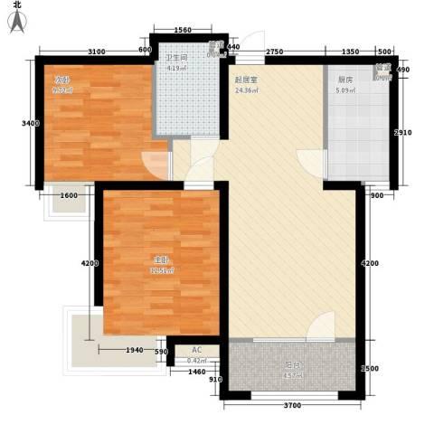 电信小区2室0厅1卫1厨88.00㎡户型图