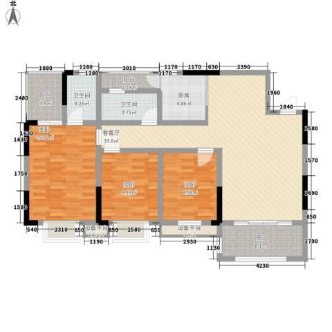 中糖大城小院3室1厅2卫1厨116.00㎡户型图