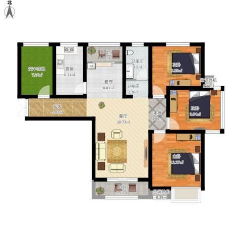 冠景凯旋门3室1厅1卫1厨134.00㎡户型图