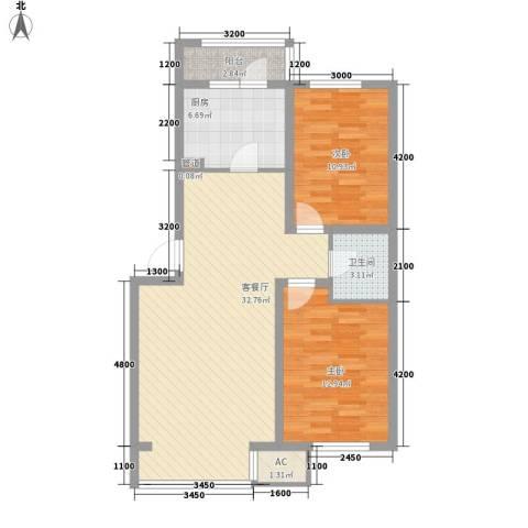 飞悦经典2室1厅1卫1厨91.00㎡户型图