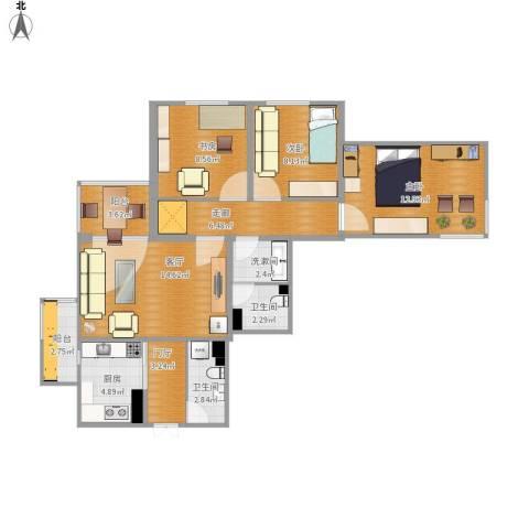 万寿路甲15号院3室1厅2卫1厨103.00㎡户型图
