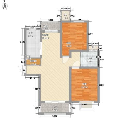爱法花园二期2室0厅1卫1厨95.00㎡户型图