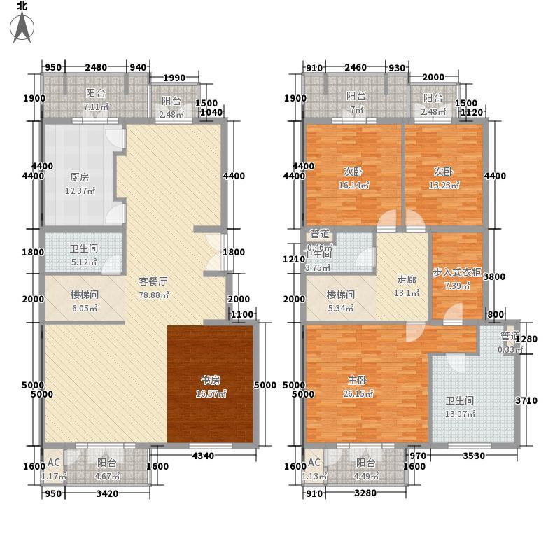北京花园268.58㎡E1复式户型3室2厅3卫1厨