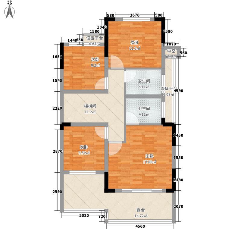 西郡英华绿荫里组团158.00㎡C1户型底墅二层户型5室4厅3卫1厨
