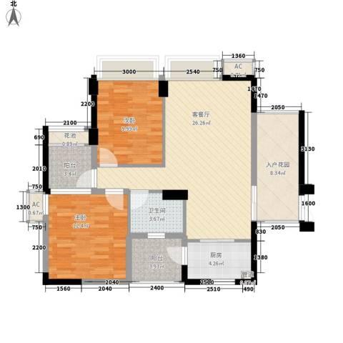 顺泽・翠屏湾2室1厅1卫1厨108.00㎡户型图