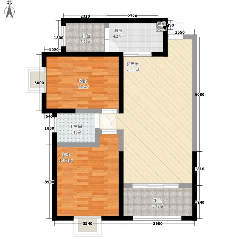 潭园小区F户型:两房两厅一卫,98.73平米_调整大小户型2室