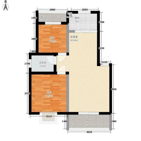 爱法花园二期2室0厅1卫1厨86.00㎡户型图