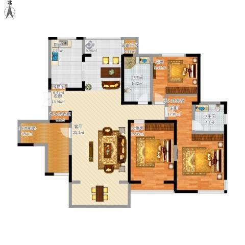 滨河花园3室1厅2卫1厨137.00㎡户型图